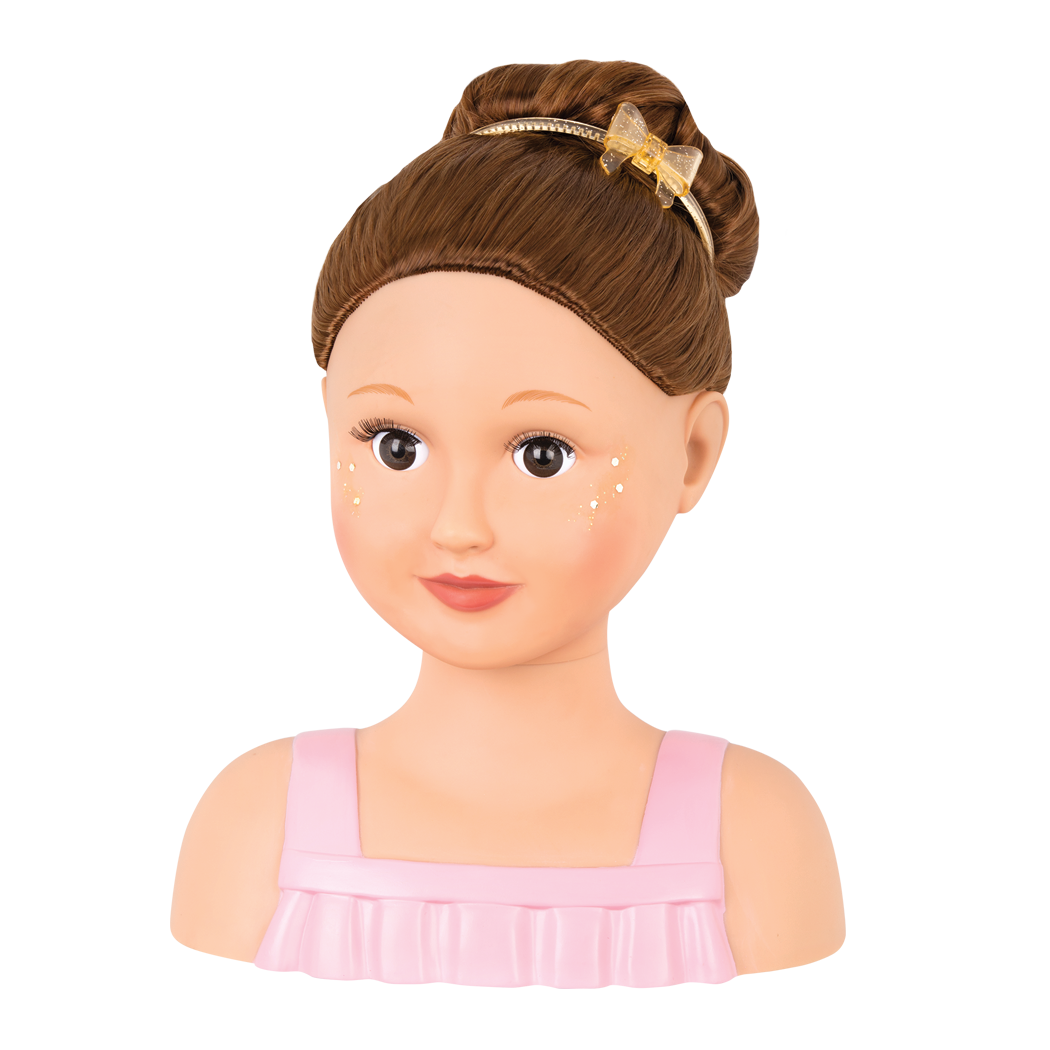 Talia with high bun and headband