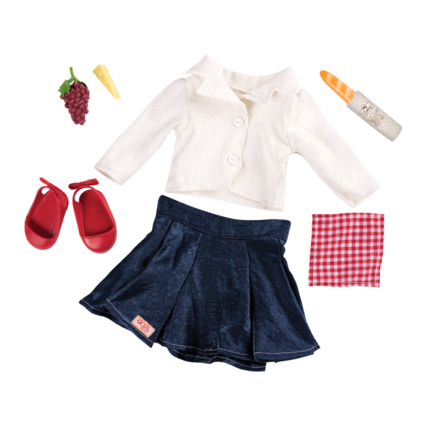 Picnic Chic Retro Picnic Outfit for 18-inch Dolls