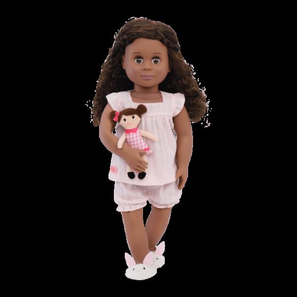 Nahla wearing Pajamarama Retro Sleepwear outfit for 18-inch Dolls