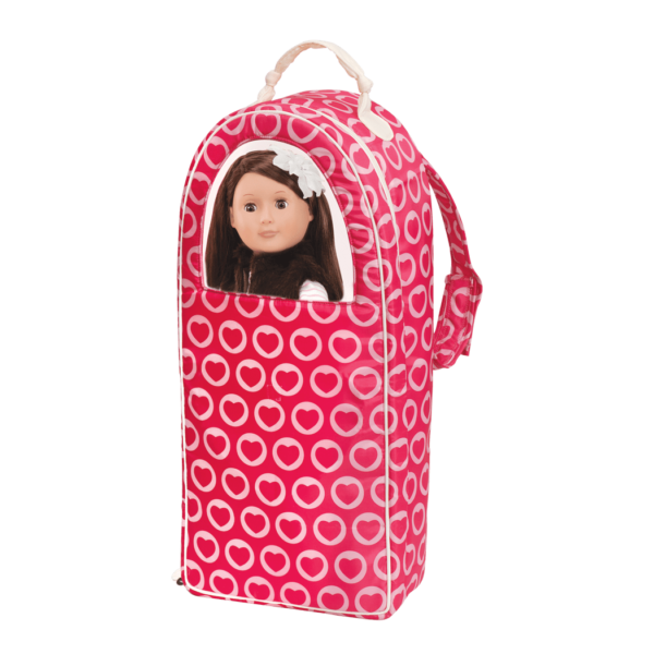 Sienna inside Going My Way Doll Carrier - Heart Spots
