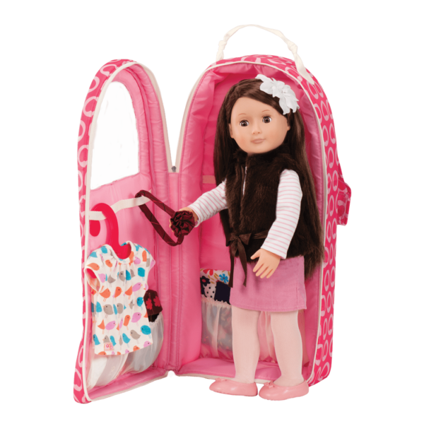 Sienna with Going My Way Doll Carrier - Heart Spots
