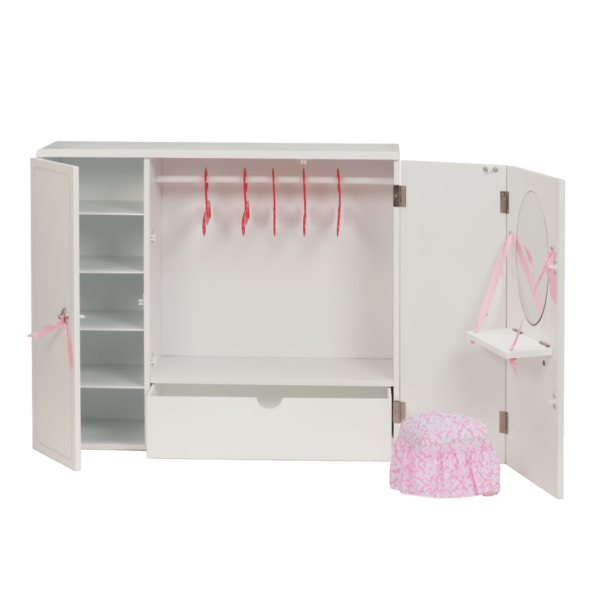 interior view of Wooden Wardrobe Closet for 18-inch Dolls