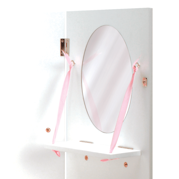 Mirror detail of Wooden Wardrobe Closet for 18-inch Dolls