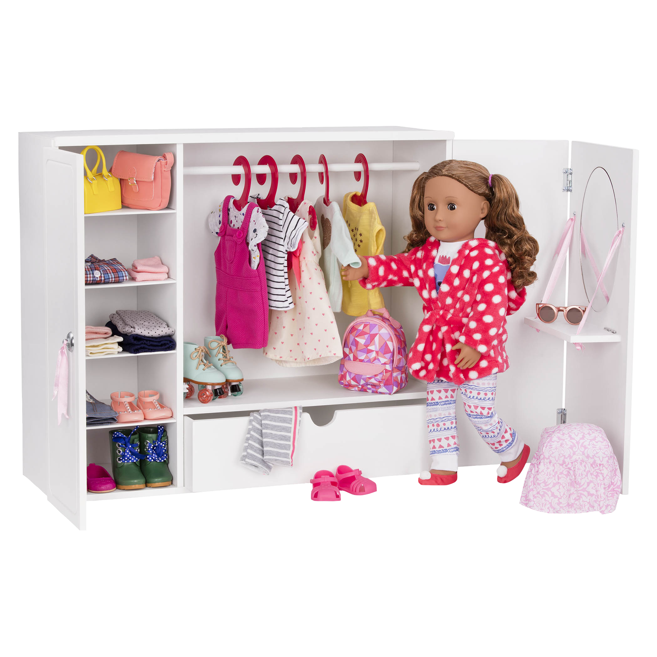 Isa and clothing inside the Wooden Wardrobe Closet for 18-inch Dolls