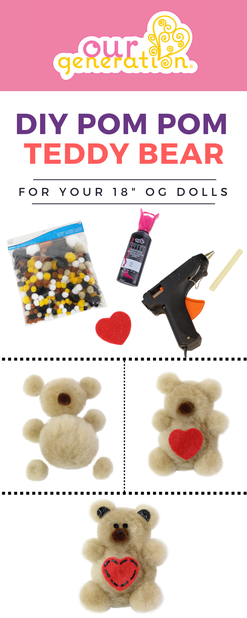 Infographic for making DIY Pom Pom Teddy Bears