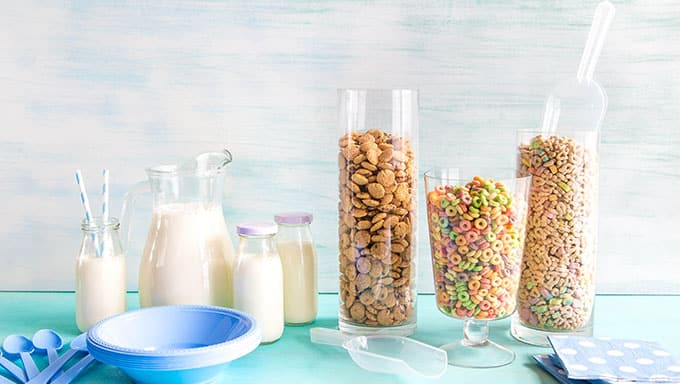 After your sleepover, in the morning throw a Cereal Party for breakfast!