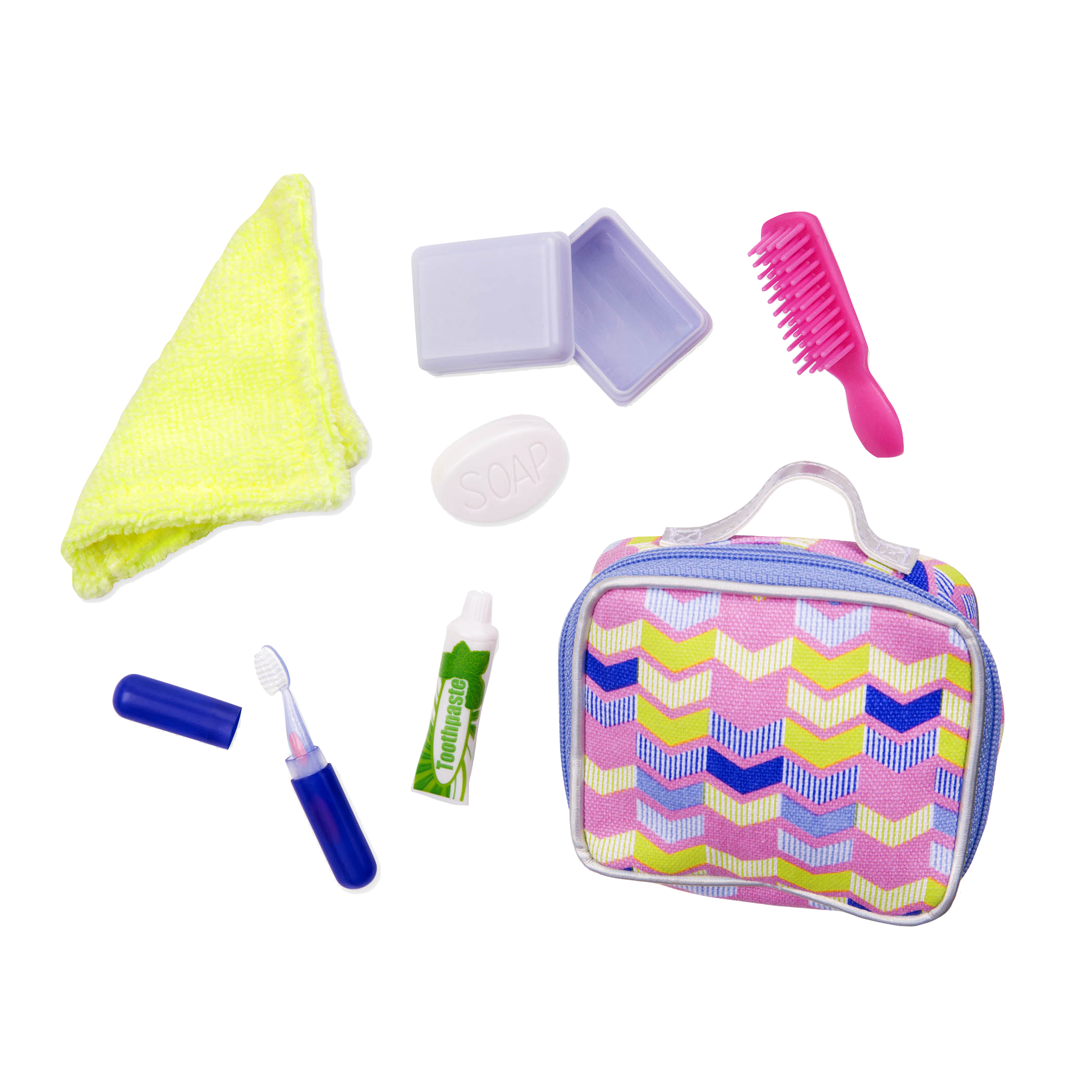 give your dolls all they need to stay overnight with this set!