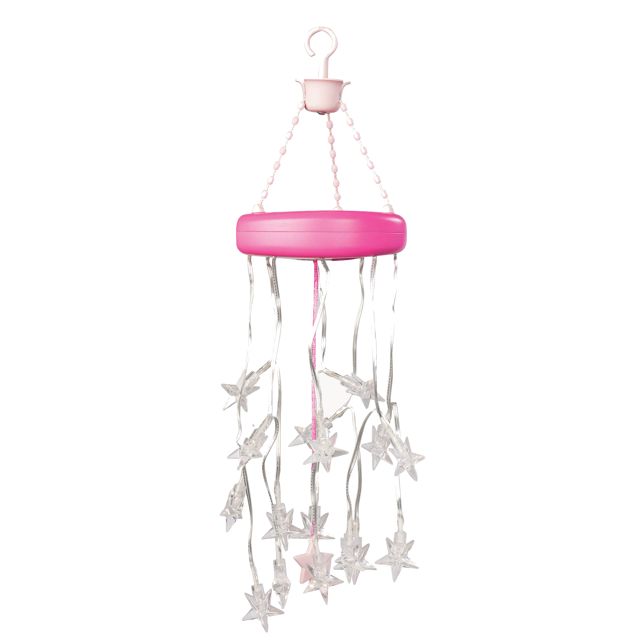 Suite Teepee- Pink Stripes star chandelier detail