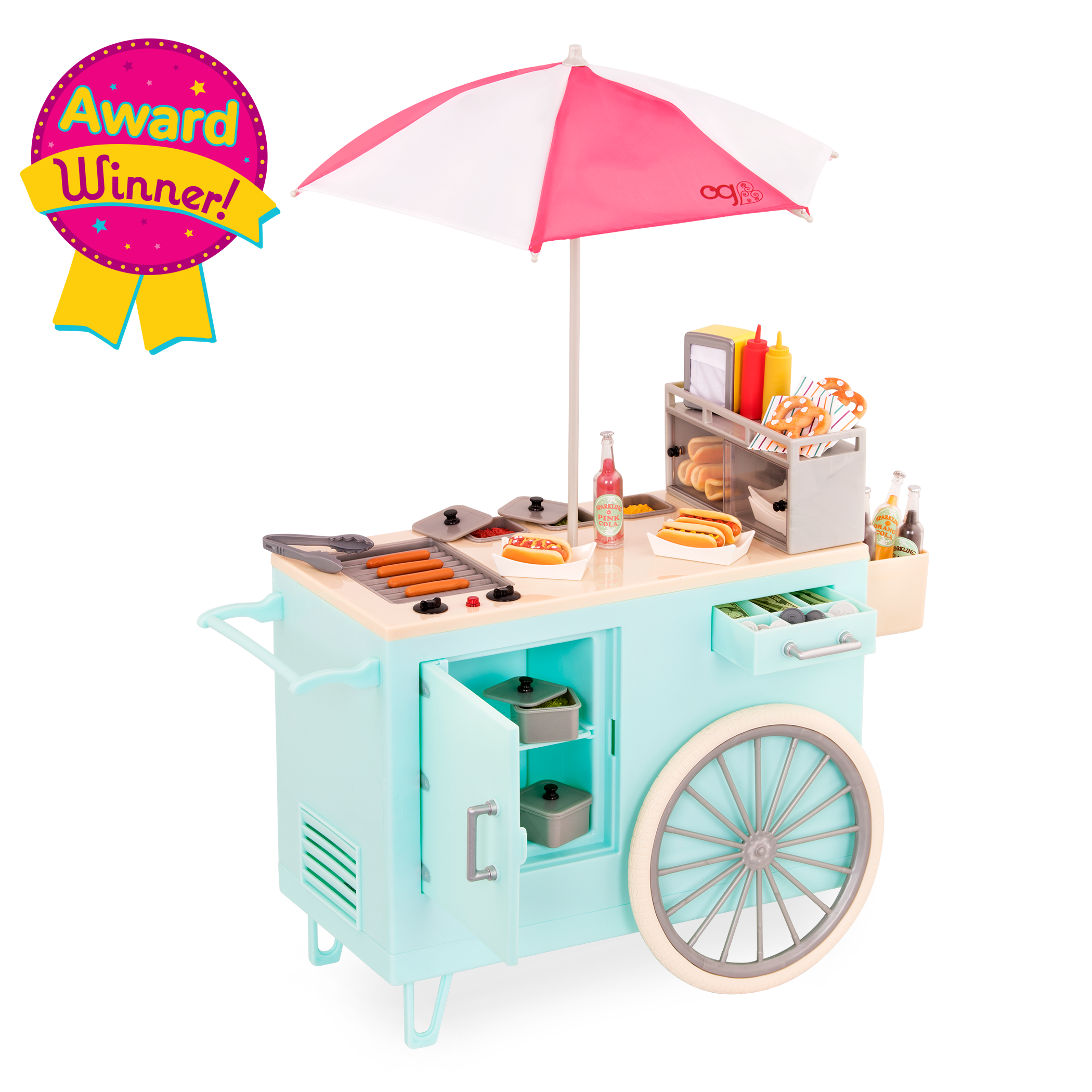Retro Hot Dog Cart for 18-inch Dolls - Award Winner!