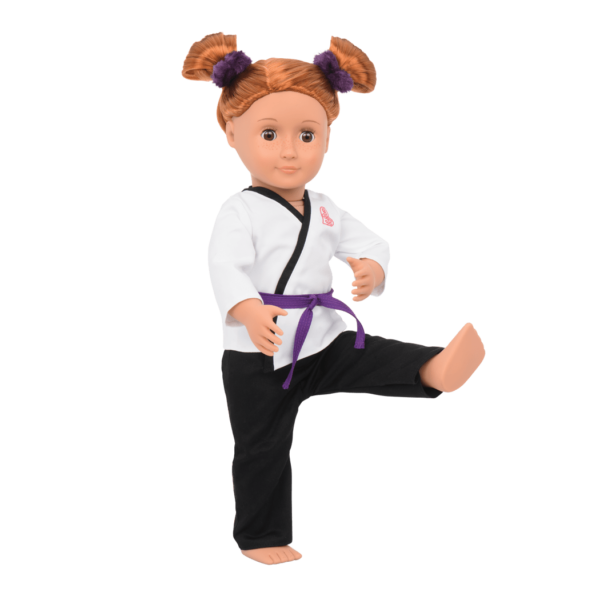 Noa weating Karate Kicks outfit and doing karate moves