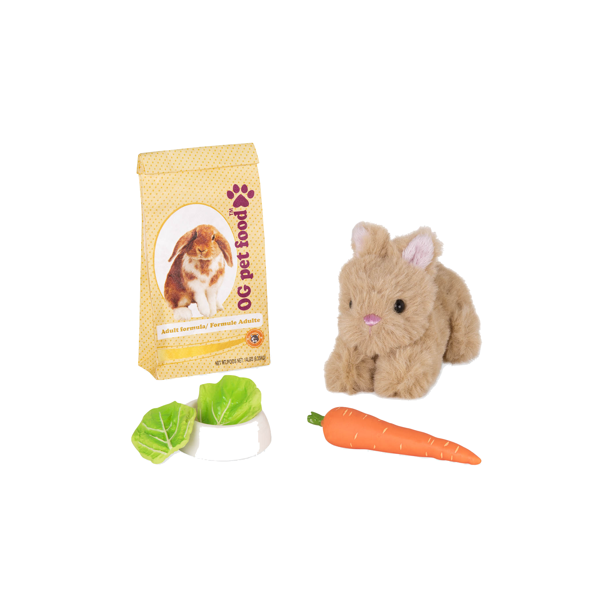 Pet Bunny Set with lettuce in bowl