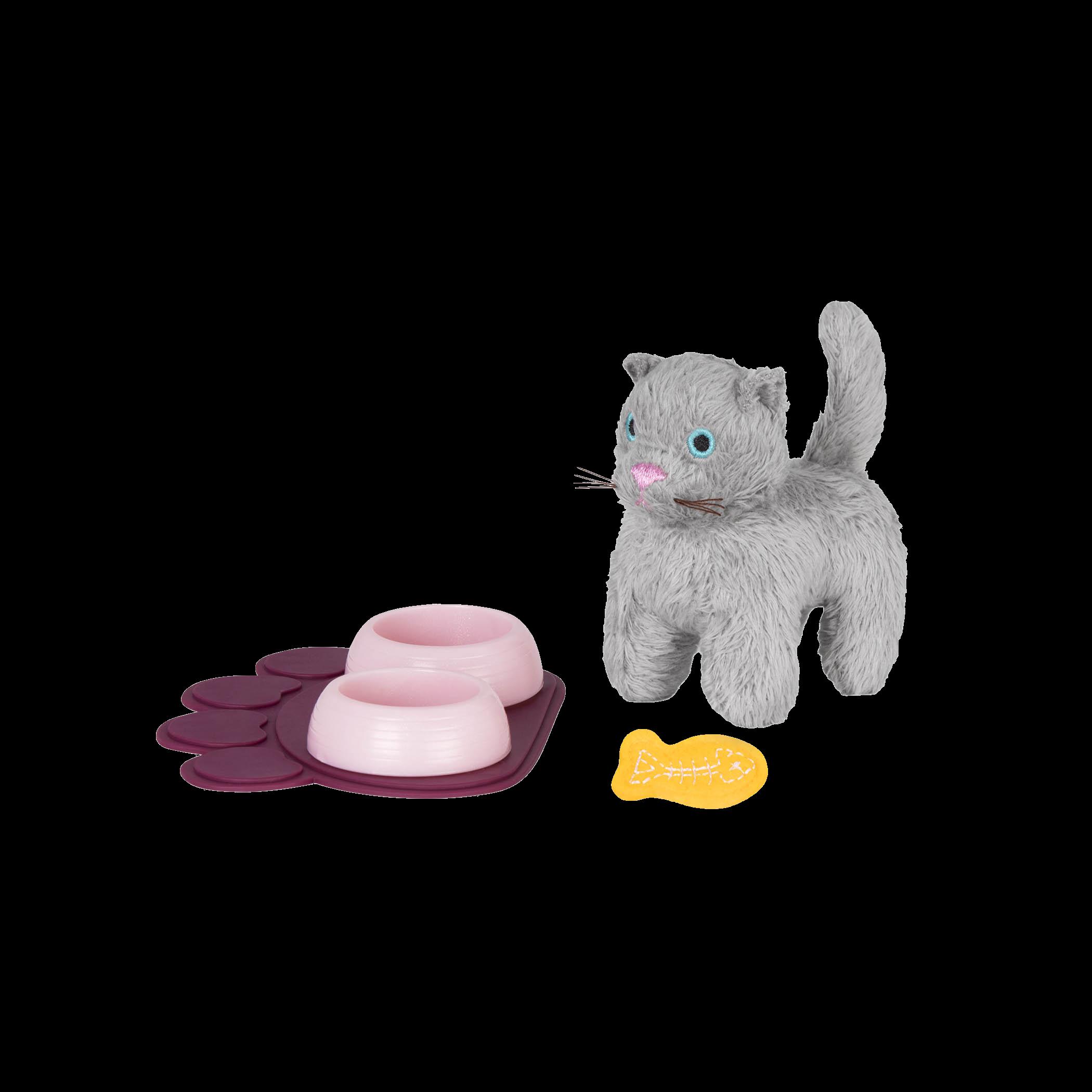 Pet Kitten Set set up with bowls