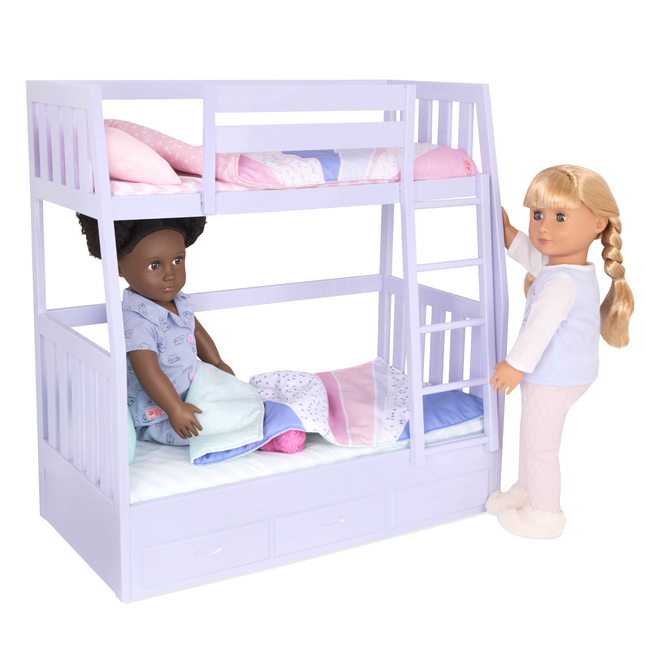 Gloria and Jovie dolls in bed