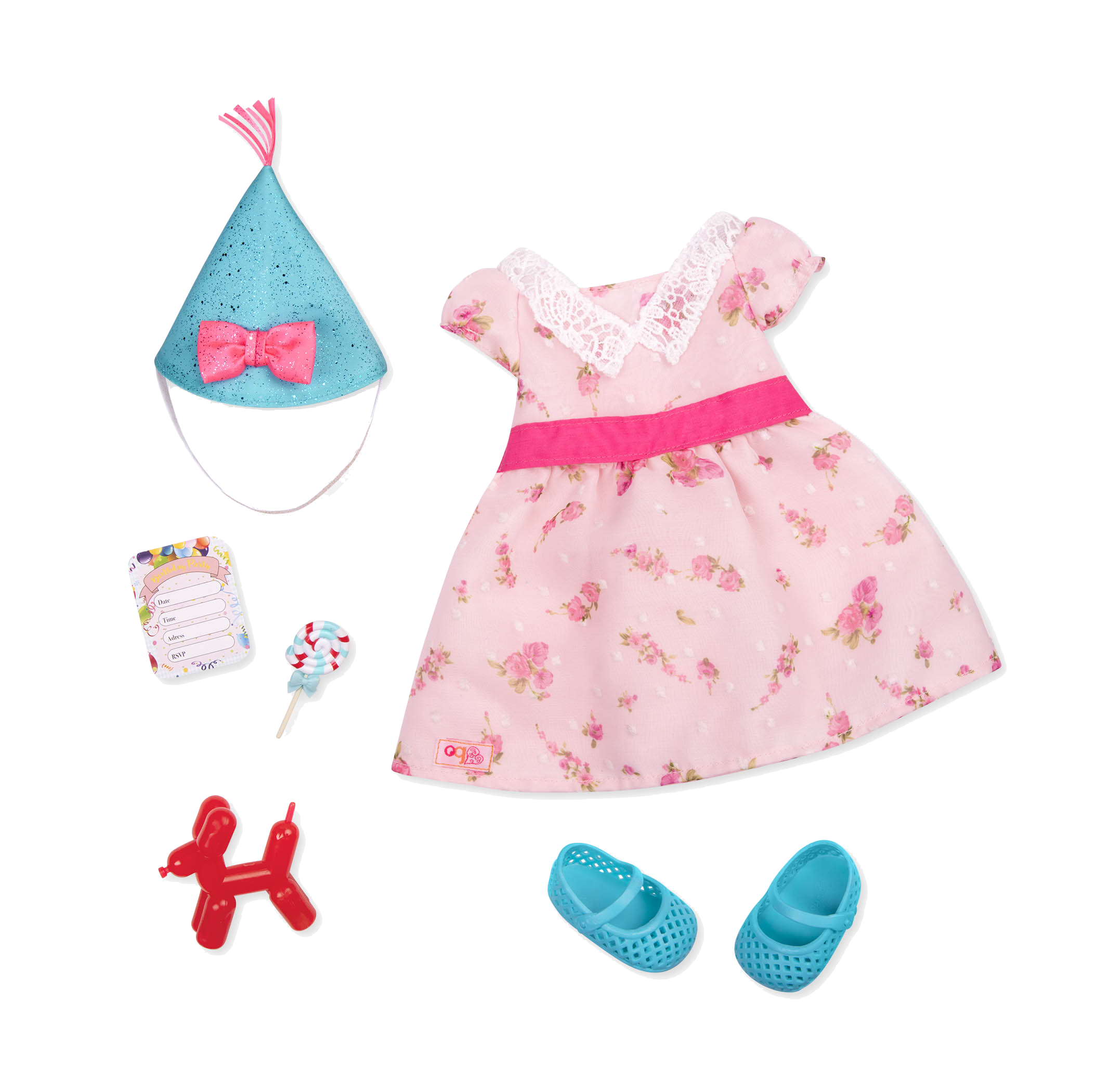 Lollipop Hop retro doll birthday outfit for 18-inch Dolls