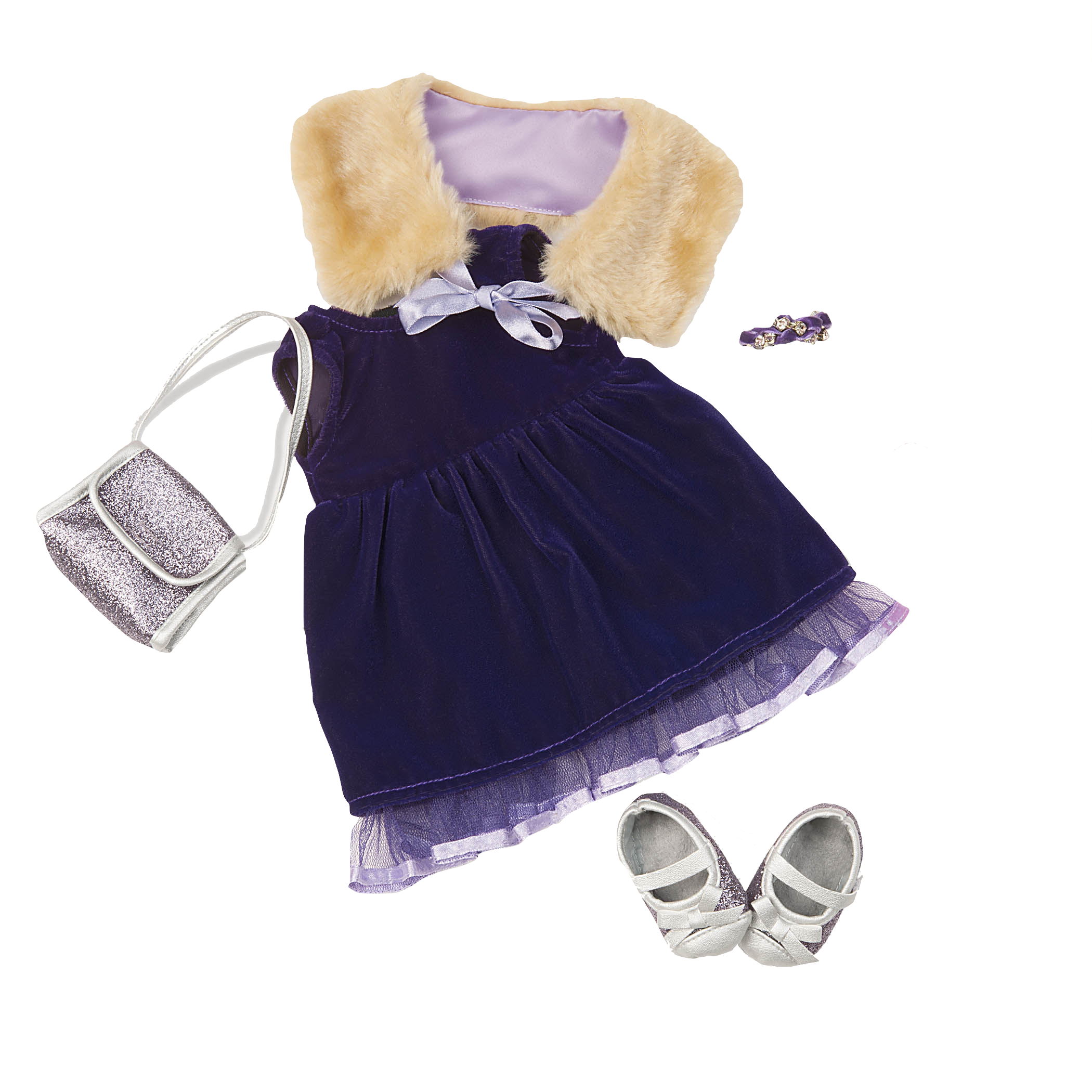 Plus the Plush Velvet Dress Outfit for 18-inch Dolls