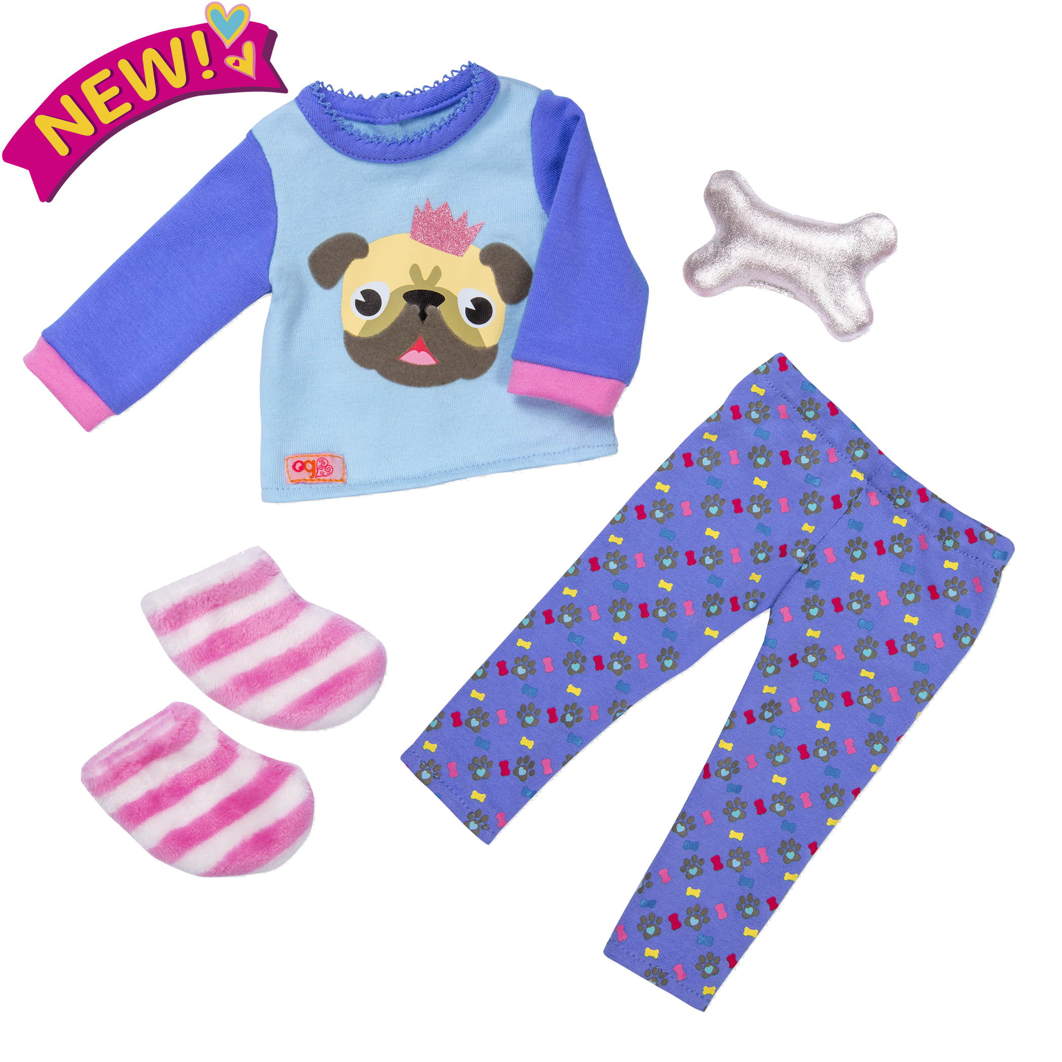 Pug-jama Party Sleepwear Outfit for 18-inch Dolls