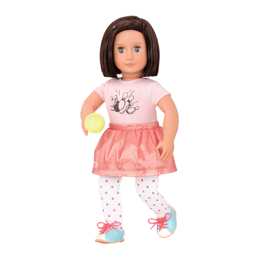 Everly Deluxe 18-inch Bowling Doll with pink skirt