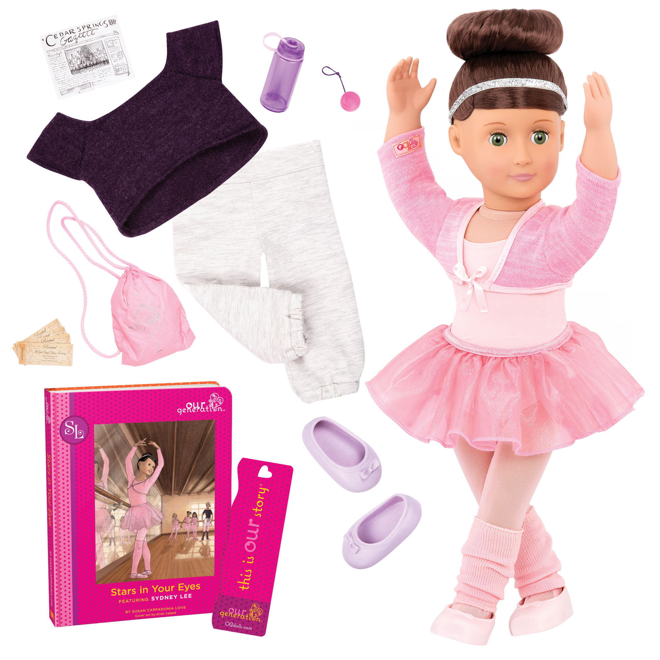 American Girl Sparkle Flats with Pink Leg Warmer and Ballet Dance Bottle