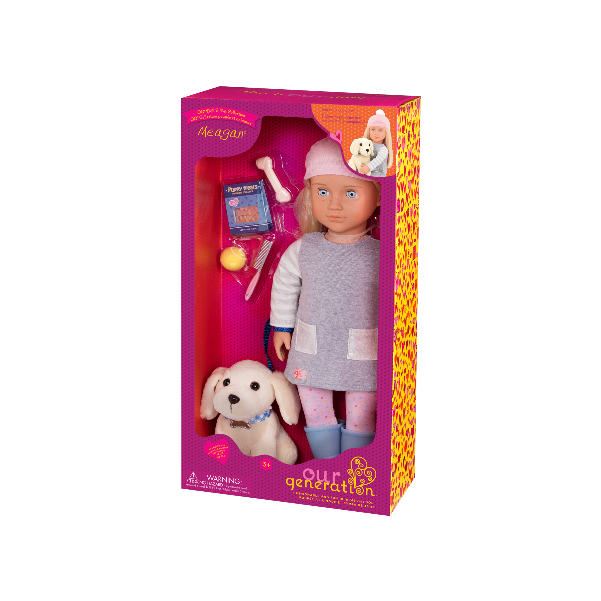 Meagan and Golden Retriever 18-inch doll and pet in packaging