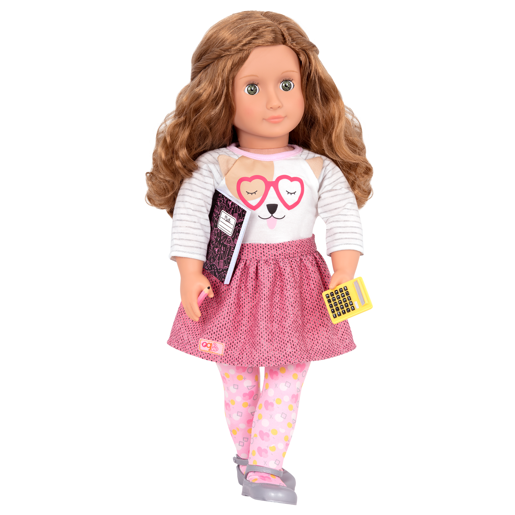 Lucy Grace wearing Classroom Cutie outfit with school supplies