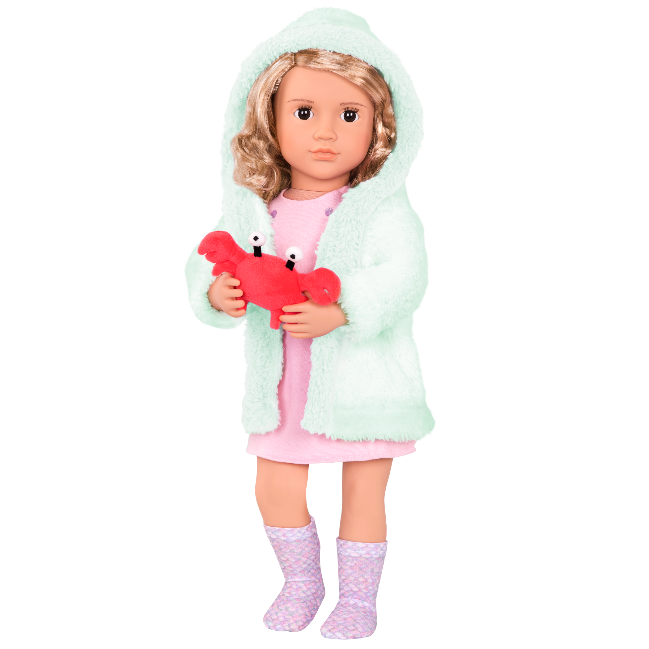 Noelle wearing Seaside Dreaming outfit with hood on