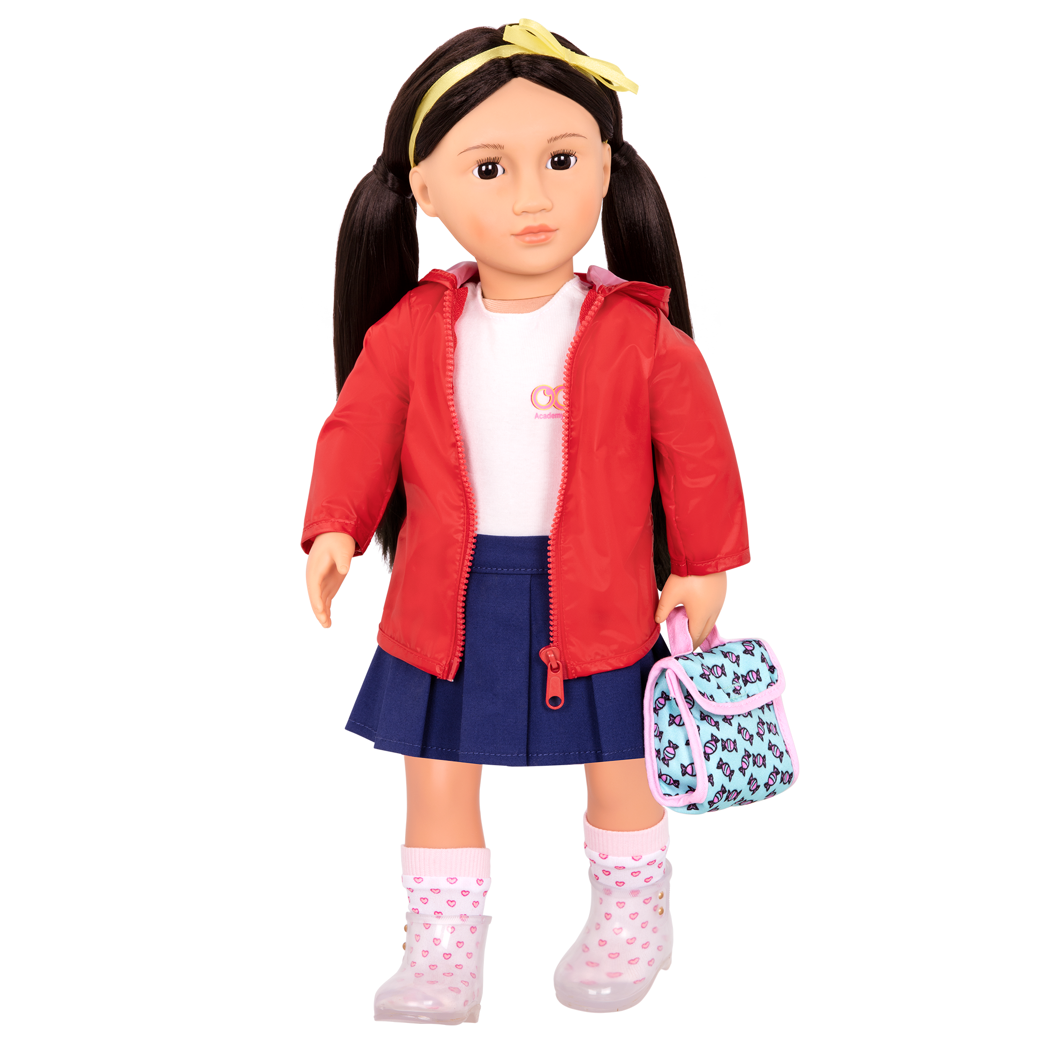 Aiko wearing Rainy Recess School Outfit with lunchbox