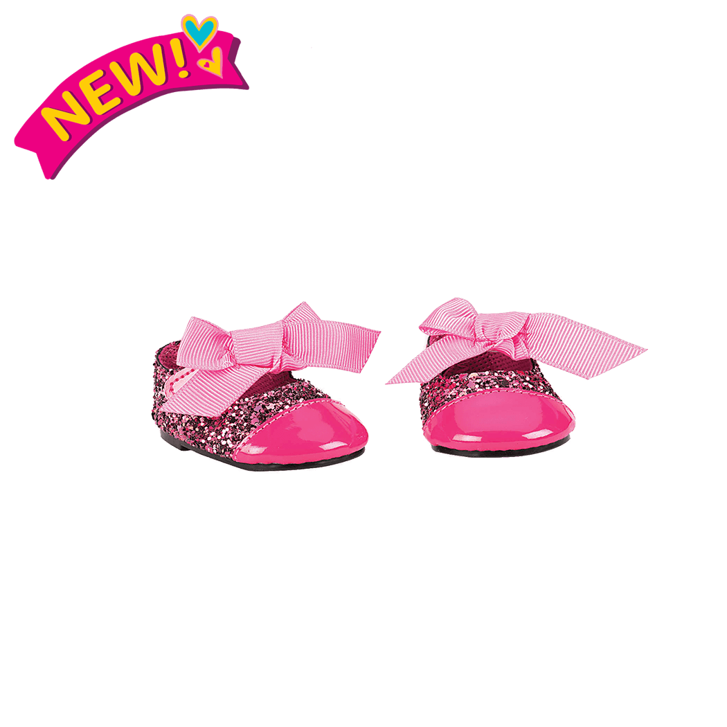 Glittering Fuchsia Fashion Shoes for 18-inch Dolls