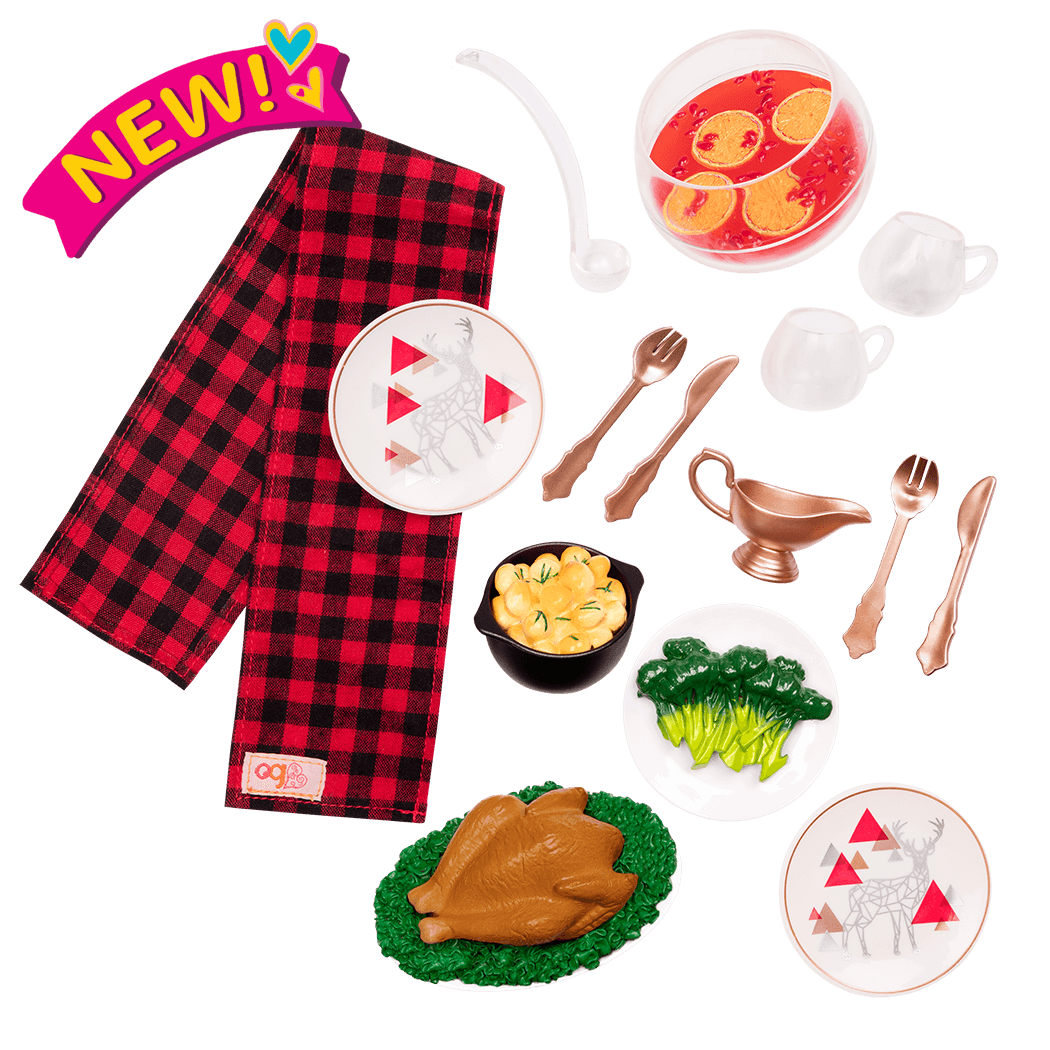 Festive Feast turkey dinner set for 18-inch dolls
