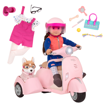 Scooter and Sidecar with Leslie Bundle for 18-inch Dolls