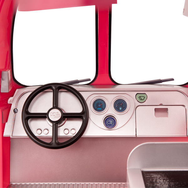Grill to Go Food Truck Pink with Electronic Features for 18-inch Dolls