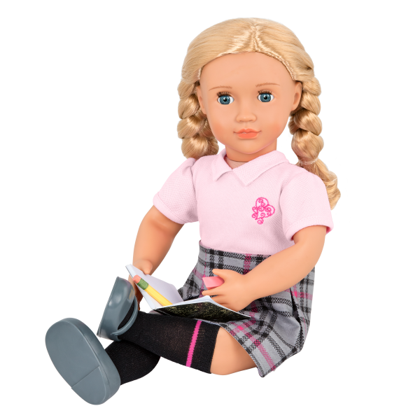 18-inch Deluxe School Doll Hally with outfit and book