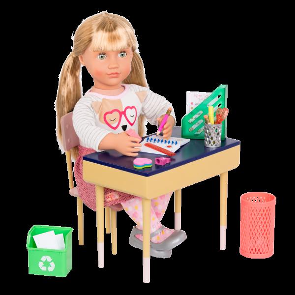 "DELUX DESK SET /& Wastebasket//School Supplies for 18/"" American Girl Doll NO DESK"