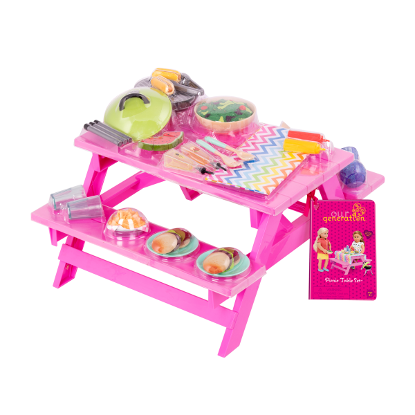 Pink Picnic Table for 18-inch Dolls