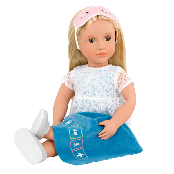 Deluxe 18-inch Train Travel Doll Joanie with blanket