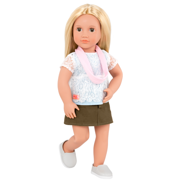 Deluxe 18-inch Train Travel Doll Joanie with scarf