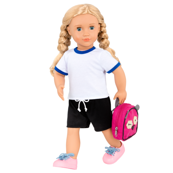 18-inch Deluxe School Doll Hally with backpack accessories