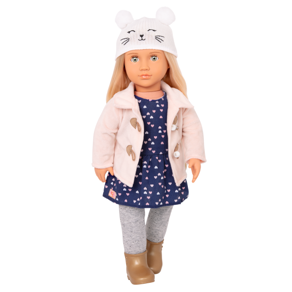 Deluxe Cheerfully Chilly Outfit Clothes for 18-inch Dolls with Dress and Pink Coat Accessories