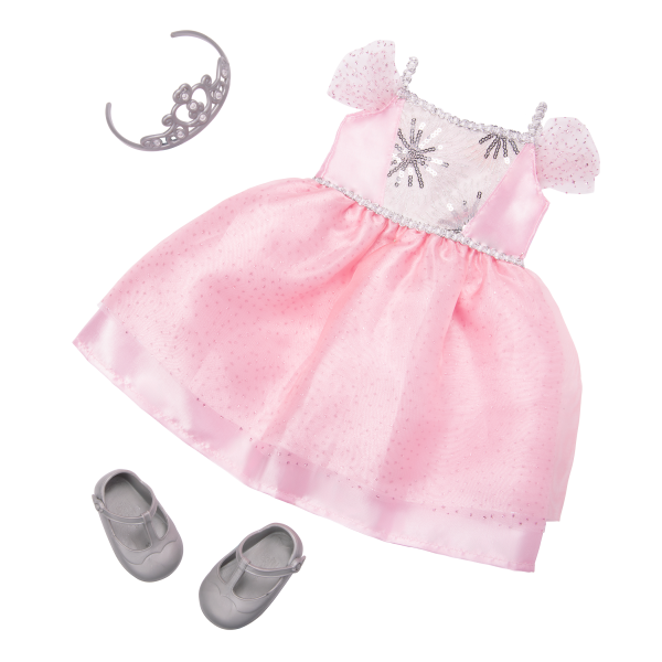 18-inch Doll Amina Outfit Gown Pink Tiara Accessories