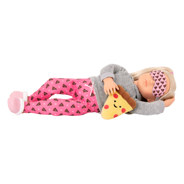 Deluxe Pizza Party Dreams Pajama Outfit Clothes Accessories Pink Pyjama Fashion for 18-inch Dolls