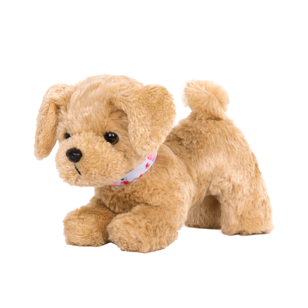 6-inch Posable Golden Poodle Pup Plush Dog Pets for 18-inch Dolls