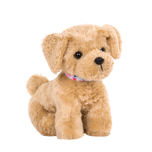 6-inch Posable Golden Poodle Pup Puppy Plush Dog for 18-inch Dolls