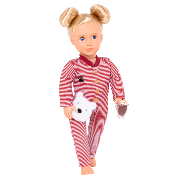 Bear-ly Tired Pajama Outfit Clothes Red Accessories for 18-inch Dolls