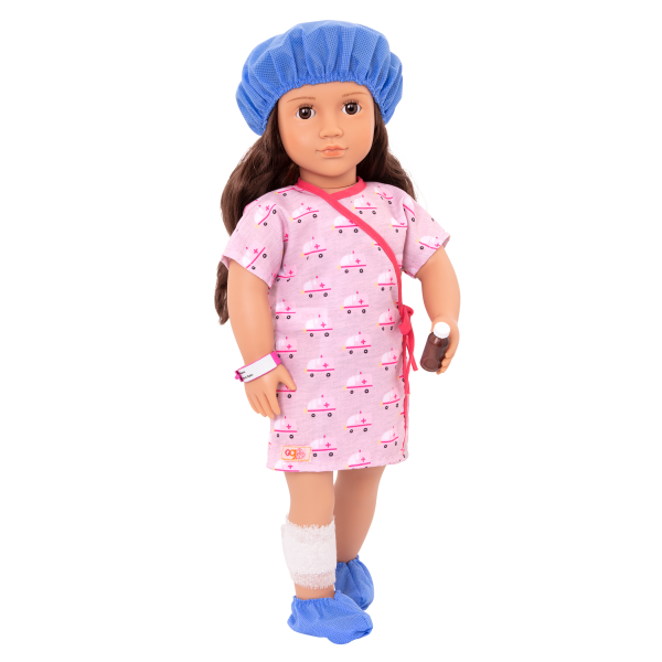 Hospital Stay Outfit Clothes Accessories Doctor Medical Play for 18-inch Dolls