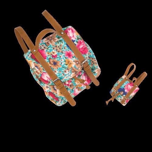 Me & You Floral Knapsacks for Kids & 18-inch Dolls