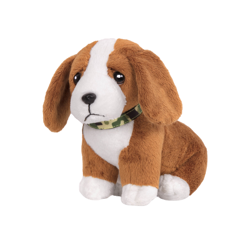 6-inch Posable Basset Hound Pup Pets for 18-inch Dolls with Collar and Leash