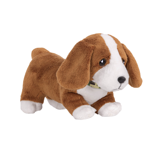 6-inch Posable Basset Hound Pup Pets Plush Dogs Loyal Pals for 18-inch Dolls