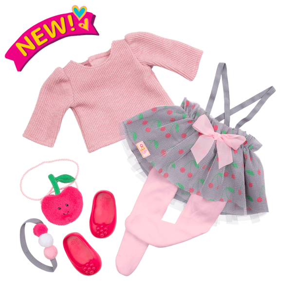 Deluxe Cherry Sweet Fashion Outfit Clothes and Accessories for 18-inch Dolls