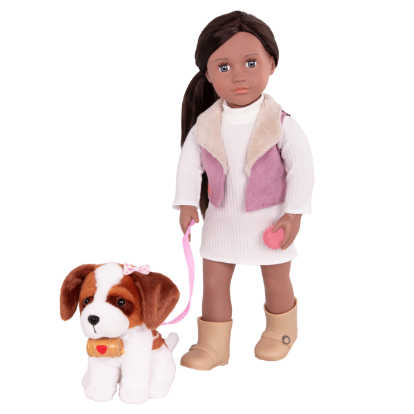 18-inch Doll and Pet Kinzie with Saint Bernard plush dog toy