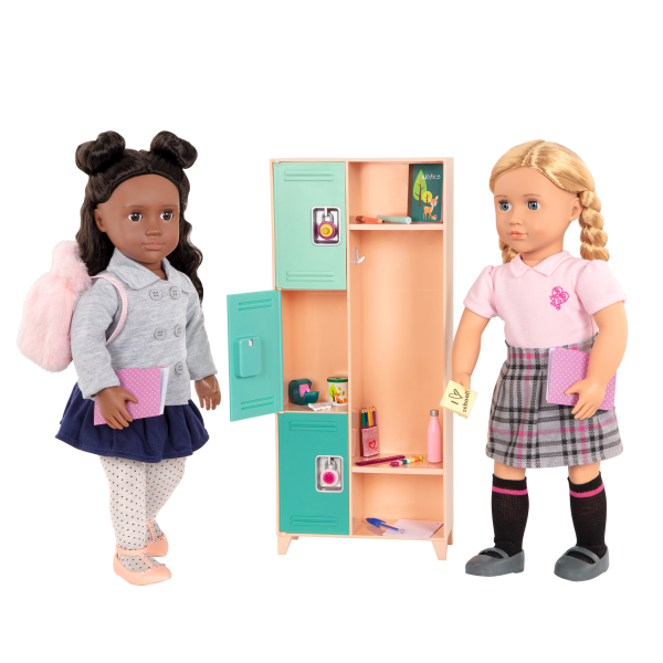 Bright & Learning School Accessories with 18-inch Dolls Macy and Hally Locker Playset
