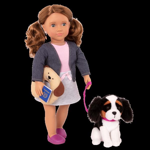 18-inch Travel Doll & Plush Pet Dog Leash